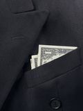 Black Wool Suit with American Dollar Bills in the Pocket