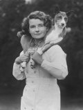 Mrs Tudor-Williams with One of Her Basenjis Kwango of the Congo