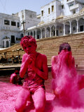 Boys Purify Themselves with Pink Powder During Holi Festival  Pushkar  India