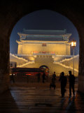Floodlit Gate on Tiananmen Square Viewed Through an Arch