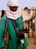 Tuareg Sword Salesman at Camel Market  Agadez  Niger