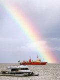 Rainbow Over Ships in Beagle Channel  Ushuaia  Argentina