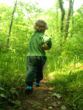 Little Boy with a Jar on a Trail in the Woods