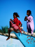 Young Girls on Dhow Fishing Boat Near Qalansia Village  Yemen
