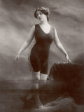 "Edwardian Bathing Beauty Miss M Odell Wears a ""V""-Neck One-Piece Bathing Costume"