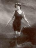 "Edwardian Bathing Beauty Miss M Odell Wears a ""V""-Neck One-Piece Bathing Costume"