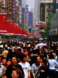 Pedestrians on Nanjing Donglu Shopping Mall  Shanghai  China