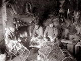 Lobstermen Repair Their Pots in Their Shanty at the West End of Bridlington Harbour  June 1936