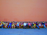 People Resting after Touring Forbidden City  Beijing  China