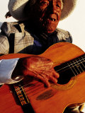 Portrait of Old Man Playing Guitar  Paracas  Peru