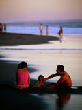Family on Beach at Dusk  Bali  Indonesia