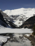 Lake Louise is Just Beginning to Thaw in the Spring