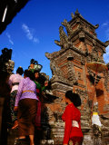Women Bearing Offerings at Tagtag Temple  Denpasar  Indonesia