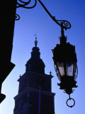 Lamp Post with Town Hall Tower (Wieza Ratuszowa) in Background  Krakow  Poland
