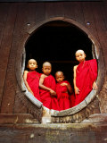 Portrait of Four Young Monks at Round Monastery Window  Inle Lake  Myanmar (Burma)