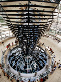 Overhead of Spiral Ramp and Mirrored Construction in Reichstag  Berlin  Germany
