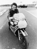 David Essex on the Set of His Film Silver Dream Racer Sitting on a Racing Motorbike  January 1980