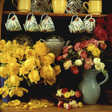 Spring Arrangement on a Dresser Ranunculus  Yellow Tulipa Baskets  China Cups &amp; Teapot