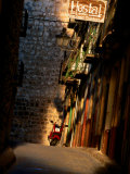 Street with Hostel Sign  Teruel  Spain