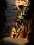 Street with Hostel Sign  Teruel  Spain