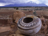 An Ancient Pottery Seed Jar  with Sleeping Ute Mountain in the Distance