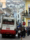 Large Bus in Narrow Street  Quito  Ecuador