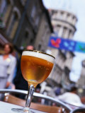 Glass of Beer at Cafe with Cathedral in Background  Boulogne-Sur-Mer  France