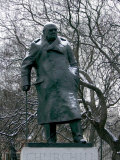 Snow is Seen on a Statue of the Late British Prime Minister Sir Winston Churchill