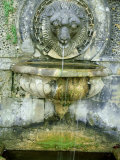 Small Classical Lion Head Water Spout into Stone Urn and Pool  Bowood House  Wiltshire