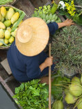 Woman with Straw Hat in Boat  Floating Market  Bangkok  Thailand