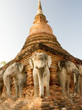 Elephant Statues at the Base of Wat Cahang Lom  Thailand