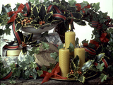 Christmas Arrangement with Holy and Ivy  Ribbons and Bees Wax Candles