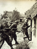 Three German Soldiers Search a Russian Peasant Home