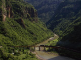Train Crosses a Bridge at Temoris in Mexico&#39;s Copper Canyon Region  Chihuahua State  Mexico