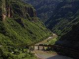 Train Crosses a Bridge at Temoris in Mexico's Copper Canyon Region  Chihuahua State  Mexico