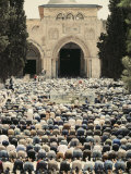 Observing Ramadan  Moslem Men Bow and Pray in Front of a Mosque in Jerusalem