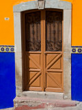 Ornate Wooden Door on Colorful Wall  Guanajuato  Mexico