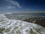 Atlantic Ocean Surf Washes the Sand Beneath a Blue Sky  Assateague Island  Virginia