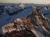 Sunset Light Glows on the North Face of the Monch Mountain  Bernese Alps  Switzerland