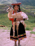 Indian Girl with Llama  Cusco  Peru