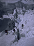 Climbers Crossing Ladder on Everest  Nepal