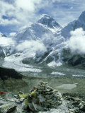 Mount Everest and Khumbu Icefall and Glacier  Nepal