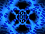 Abstract Blue Fractal Pattern
