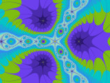 Abstract Purple and Green Fractal Designs on Turquoise Background