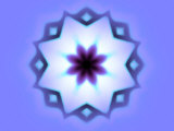Flower-Like Fractal Design Within Star on Blue Background