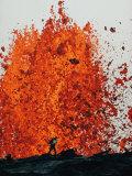 Geologist Approaches a Fountain of Molten Rock  Mauna Ulu  Hawaii