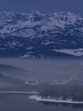 Donner Lake and Haze from Wood Smoke over Truckee  California