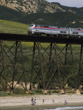 The Coast Starlight Passes over a Trestle Bridge near Santa Barbara  California