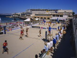 Women Playing Beach Volleyball  Plage des Catalans  Marseille  France