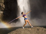 Young Woman Throwing a Javelin  Snoqualmie Falls  Washington State  USA